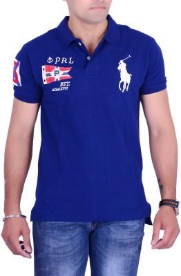 Ralph Lauren Solid Men's Polo Neck Blue T-Shirt