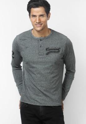 Camino Solid Men's Henley Black T-Shirt