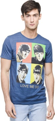 Beatles Printed Men's Round Neck Blue T-Shirt
