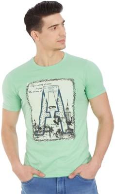 Cloak & Decker Printed Men's Round Neck Light Green T-Shirt