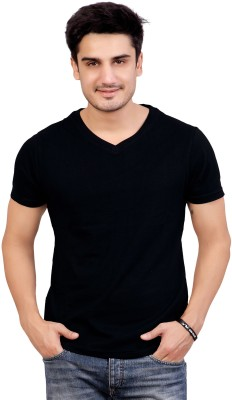 Stephen Armor Solid Men's V-neck Black T-Shirt