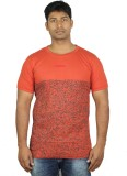 Mr Sha Printed Men's Round Neck Red T-Sh...