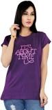 Mint Solid Women's Round Neck Purple T-S...
