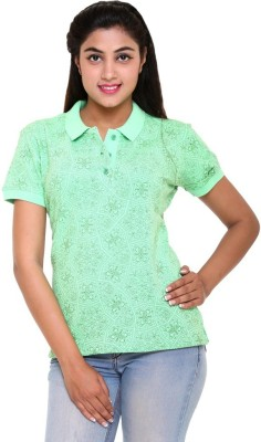 Colors & Blends Printed Women's Polo Neck Green T-Shirt