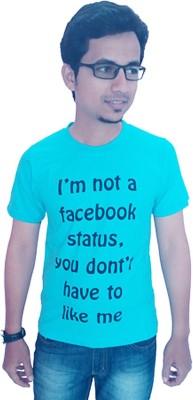 Wankies Printed Men's Round Neck Light Blue T-Shirt