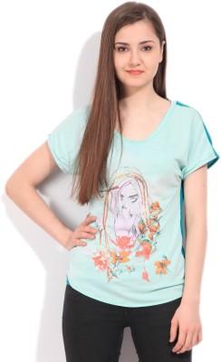 Elle Printed Women's Round Neck Blue T-Shirt