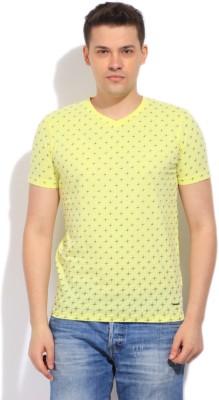 Killer Printed Men's V-neck Yellow T-Shirt