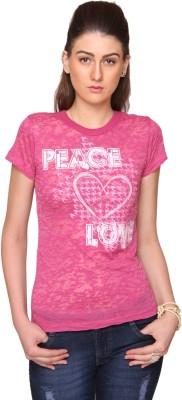 Bedazzle Geometric Print Women's Round Neck Pink T-Shirt