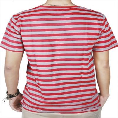 #Ootd Striped Men's Round Neck Red T-Shirt