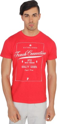 French Connection Printed Men's Round Neck Red T-Shirt