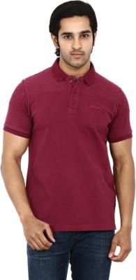 STACKIA Solid Men's Polo Neck Maroon T-Shirt