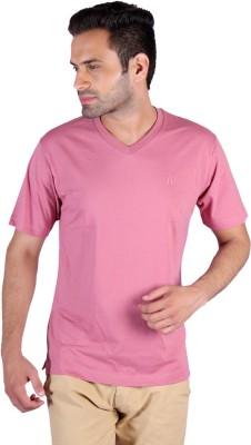 Humbert Solid Men's V-neck Pink T-Shirt
