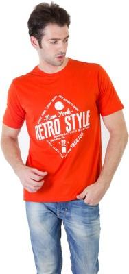 RICK AND MASCH Printed Men's Round Neck Orange T-Shirt
