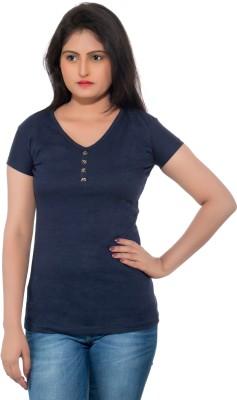 feminine Solid Women's V-neck Multicolor T-Shirt