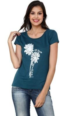ESPRESSO Printed Women's Round Neck Green T-Shirt