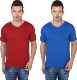Meedo Solid Men's V-neck Red, Blue T-Shi...