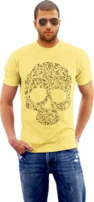 Monzter Popcornz Graphic Print Men's Round Neck Yellow T-Shirt