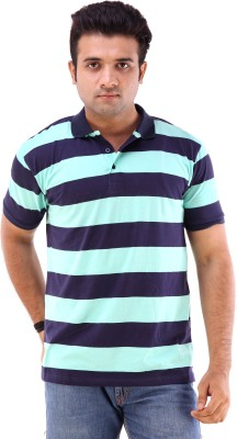 Goyal Arts Striped Men's Flap Collar Neck T-Shirt