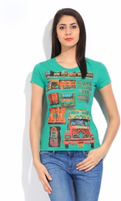 STYLE QUOTIENT BY NOI Printed Women's Round Neck Green T-Shirt