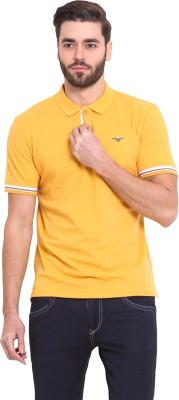 Western Vivid Solid Men's Polo Neck Gold T-Shirt