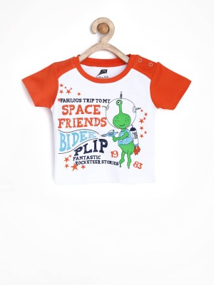 Yellow Kite Printed Baby Boy's Round Neck T-Shirt