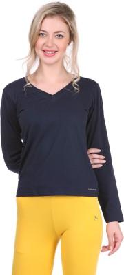 Bahamas Solid Women's V-neck Dark Blue T-Shirt