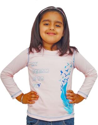 Naughty Ninos Printed Girl's Round Neck Pink T-Shirt
