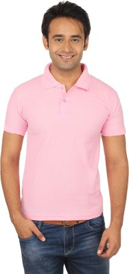 Quetzal Solid Men's Polo Neck Pink T-Shirt
