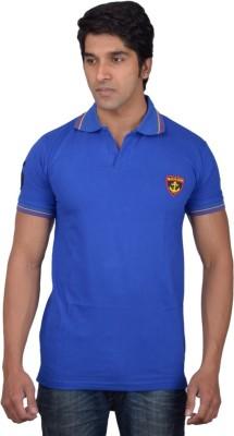 Tavara Solid Men's Polo Neck Blue T-Shirt