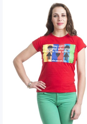 Finesse Printed Women's Round Neck Red T-Shirt