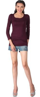 Remanika Solid Women's Round Neck Maroon T-Shirt