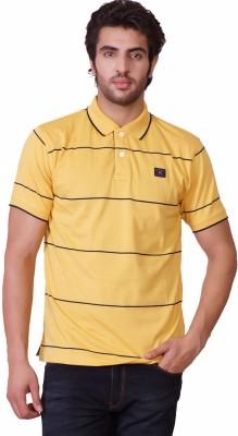 D-Green Striped Men's Polo Gold T-Shirt