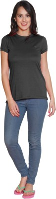 Sweet Dreams Solid Women's Round Neck Black T-Shirt