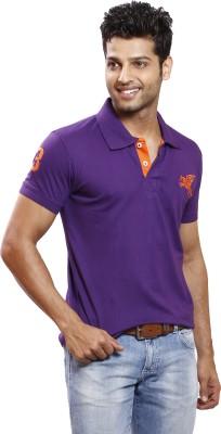 Right Shape Solid Men's Polo Purple T-Shirt