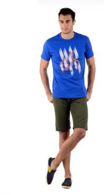 Keywest Graphic Print Men's Round Neck Blue T-Shirt