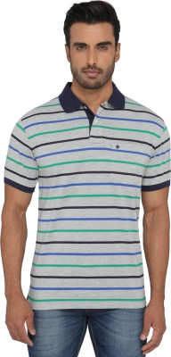Greenfibre Striped Men's Polo Neck Grey T-Shirt
