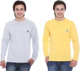 Cee-For Solid Men's Henley Grey, Yellow ...
