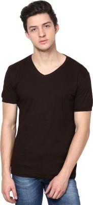 Inkovy Solid Men's V-neck Brown T-Shirt