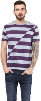 UV&W Striped Men's Round Neck Purple T-Shirt