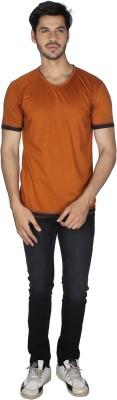 Grapes Plus Solid Men's V-neck Maroon T-Shirt