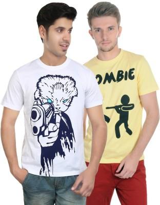 Algotton Graphic Print Men,s Round Neck White, Yellow T-Shirt