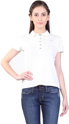 Kidley Solid Women's Polo Neck White T-Shirt