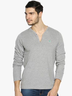 The Indian Garage Co. Solid Men's Henley Grey T-Shirt