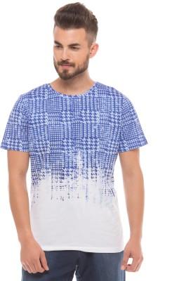 Shuffle Printed Men's Round Neck White T-Shirt