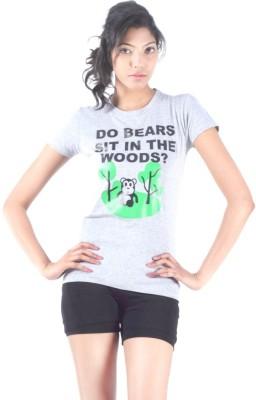 S9 Women Printed Women's Round Neck Grey T-Shirt