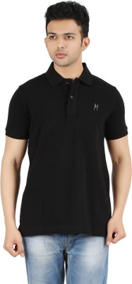 Maniak Solid Men's Polo Neck Black T-Shirt