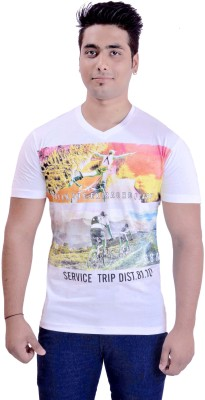 Krazzy Collection Printed Men's V-neck White T-Shirt
