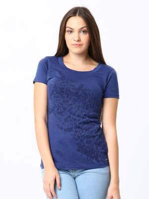 ESPRESSO Printed Women's Round Neck Blue T-Shirt
