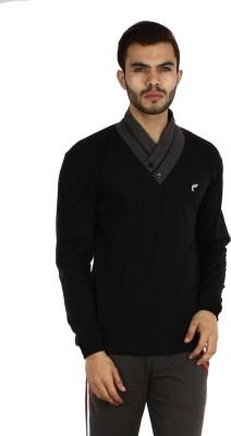 Vsquared Self Design Men's Fashion Neck Black T-Shirt