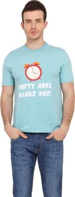 Filmwear Graphic Print Men's Round Neck Light Blue T-Shirt